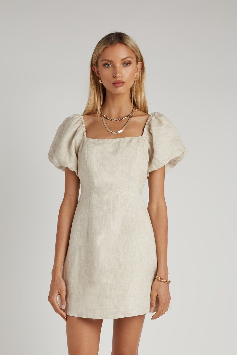 LYDIA NATURAL LINEN MINI DRESS Clothing DISSH Boutiques 6 NATURAL