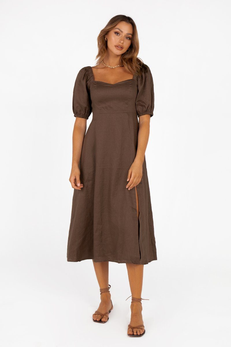 BETTIE CHOCOLATE LINEN MIDI DRESS Clothing DISSH Boutiques 10 CHOCOLATE
