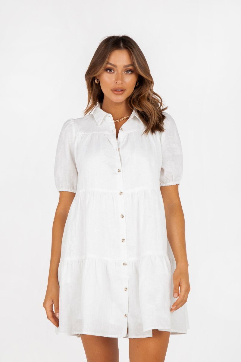 DANNY WHITE LINEN TIER SHIRT DRESS Clothing DISSH Boutiques 16 WHITE
