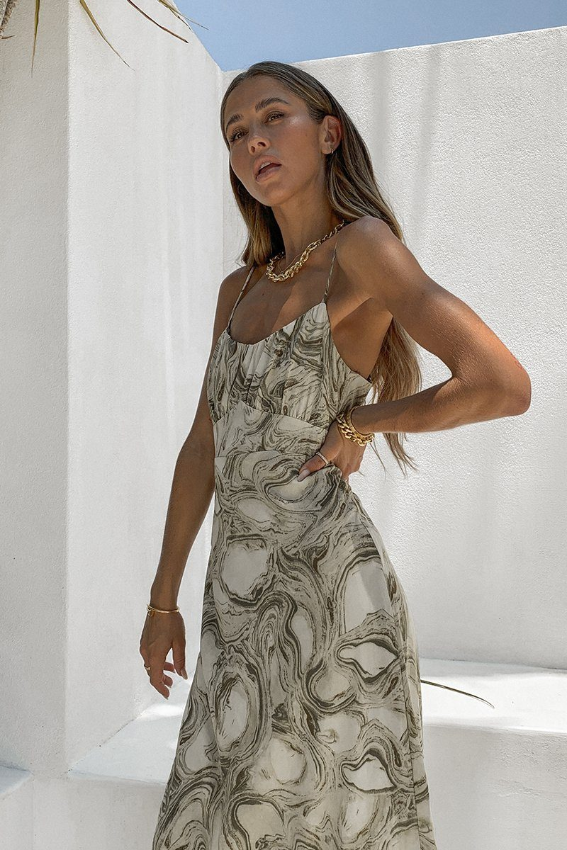 AGNES GREEN MARBLE MIDI DRESS Clothing DISSH Boutiques