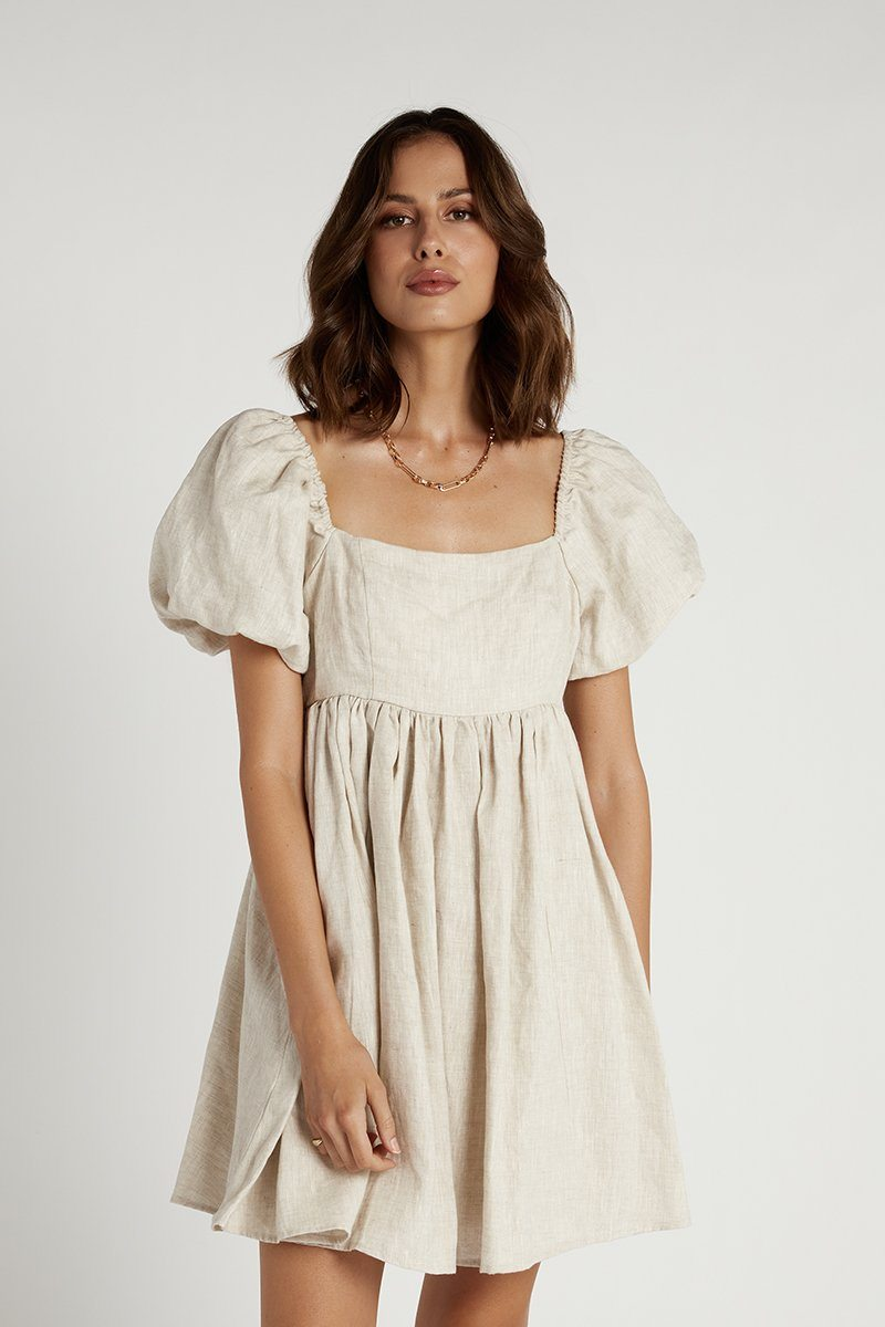 DANIELLE NATURAL LINEN MINI DRESS Clothing DISSH Boutiques