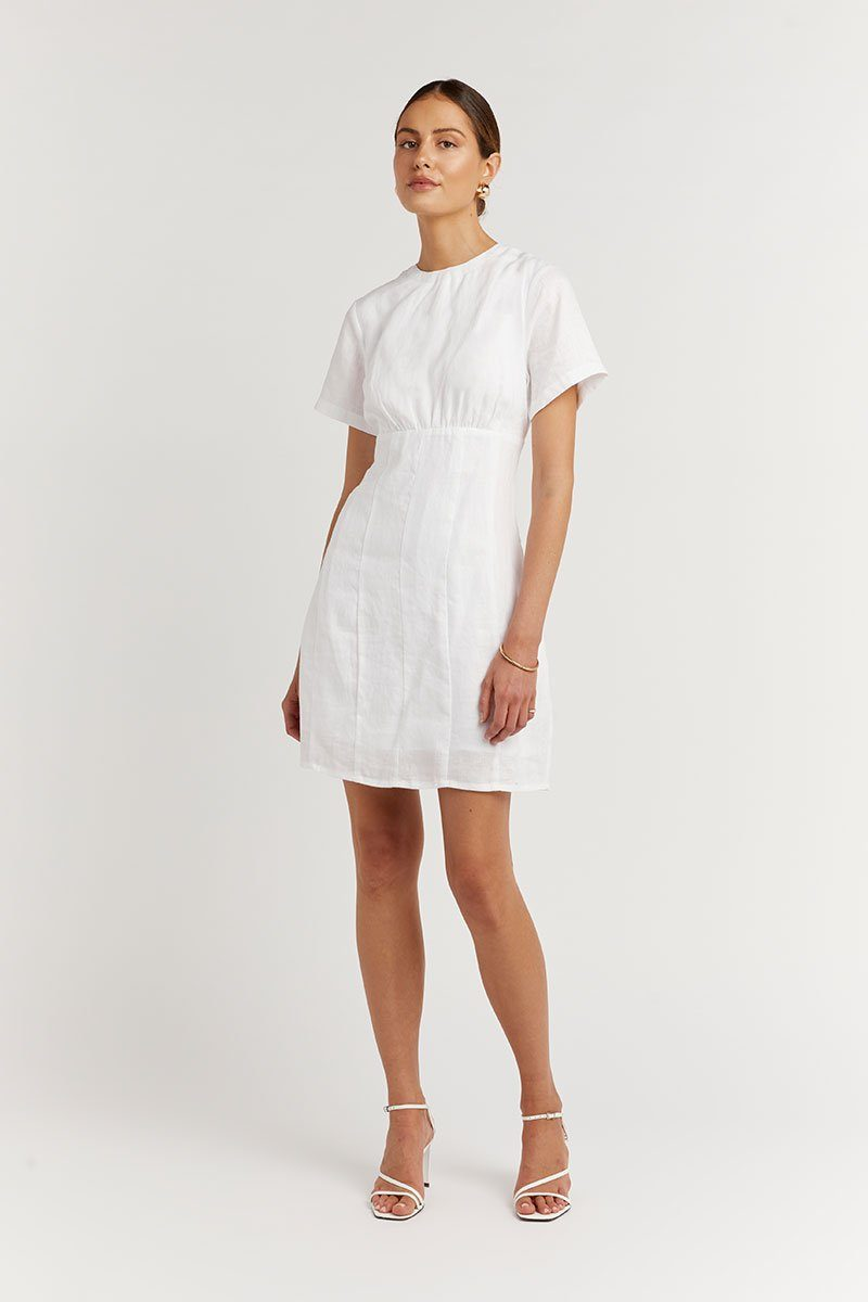 NOVA WHITE LINEN MINI DRESS Clothing DISSH EXCLUSIVE