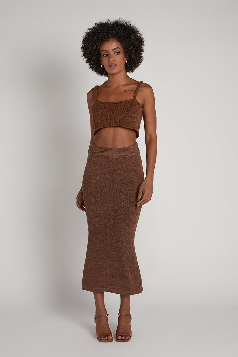 NADIA CHOCOLATE KNIT MIDI SKIRT Clothing DISSH Boutiques