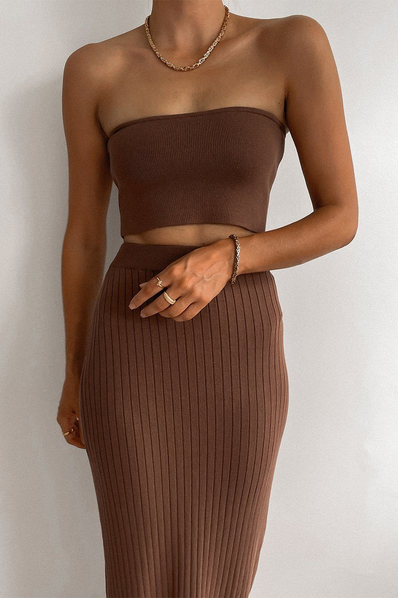 DASH CHOCOLATE STRAPLESS KNIT TOP Clothing DISSH Boutiques