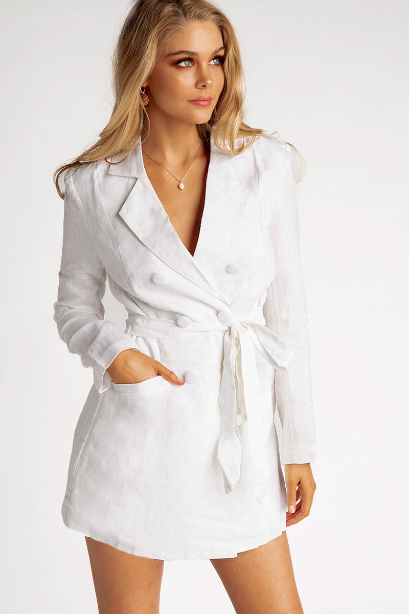 MAKE IT WHITE LINEN BLAZER PLAYSUIT Clothing DISSH EXCLUSIVE 10 OFF WHITE