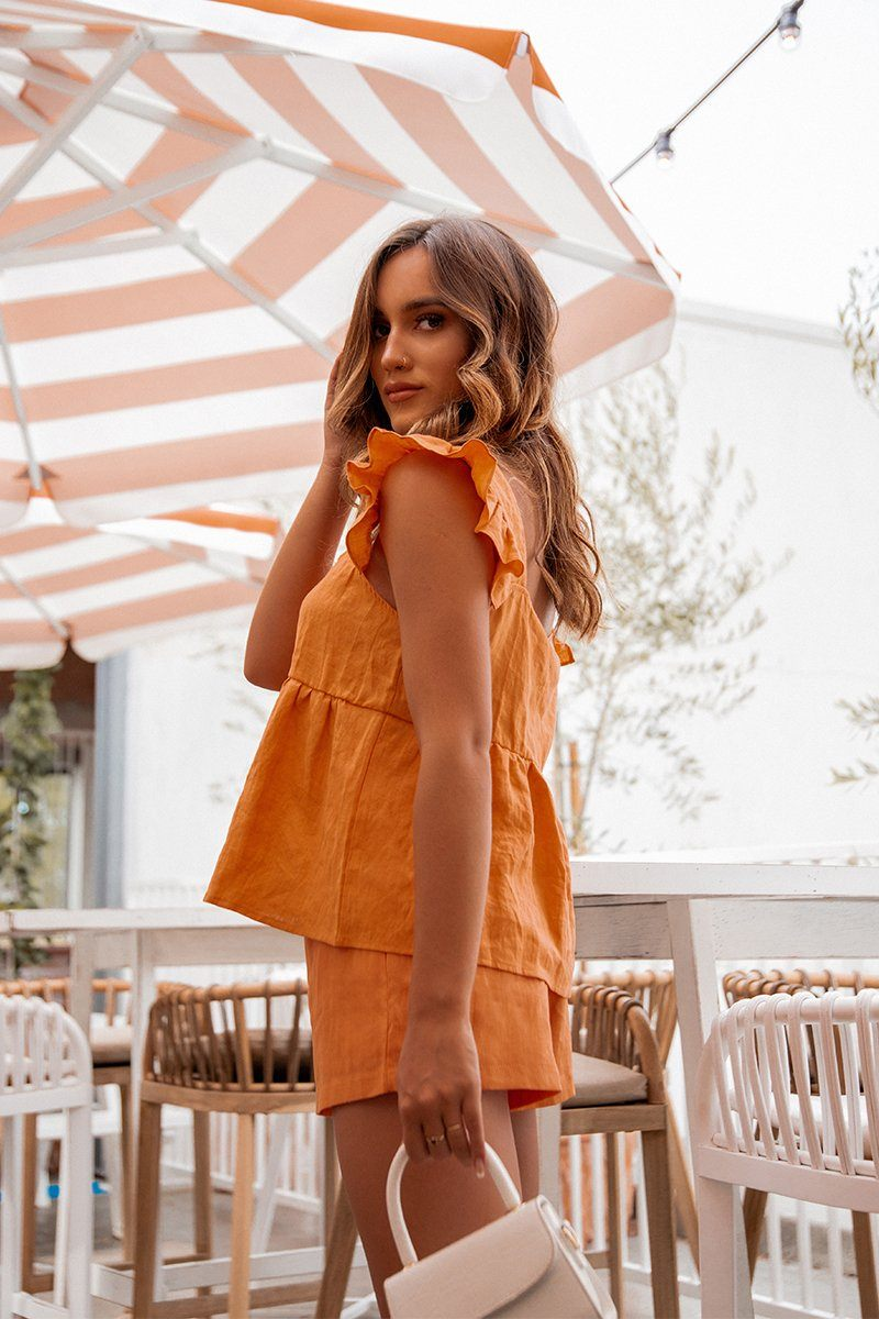 EMILY ORANGE LINEN BABYDOLL TOP