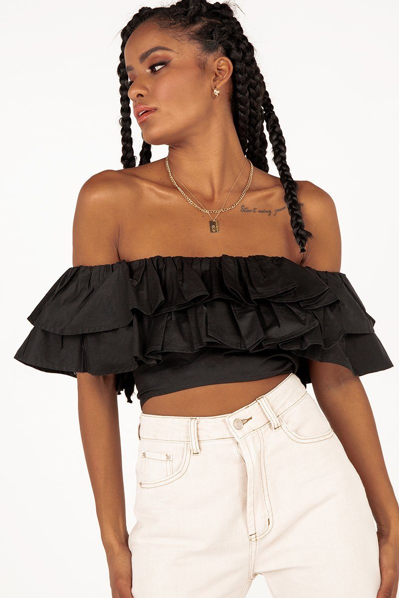 RYLEE BLACK RUFFLE TIE CROP TOP Clothing DISSH Boutiques 12 BLACK