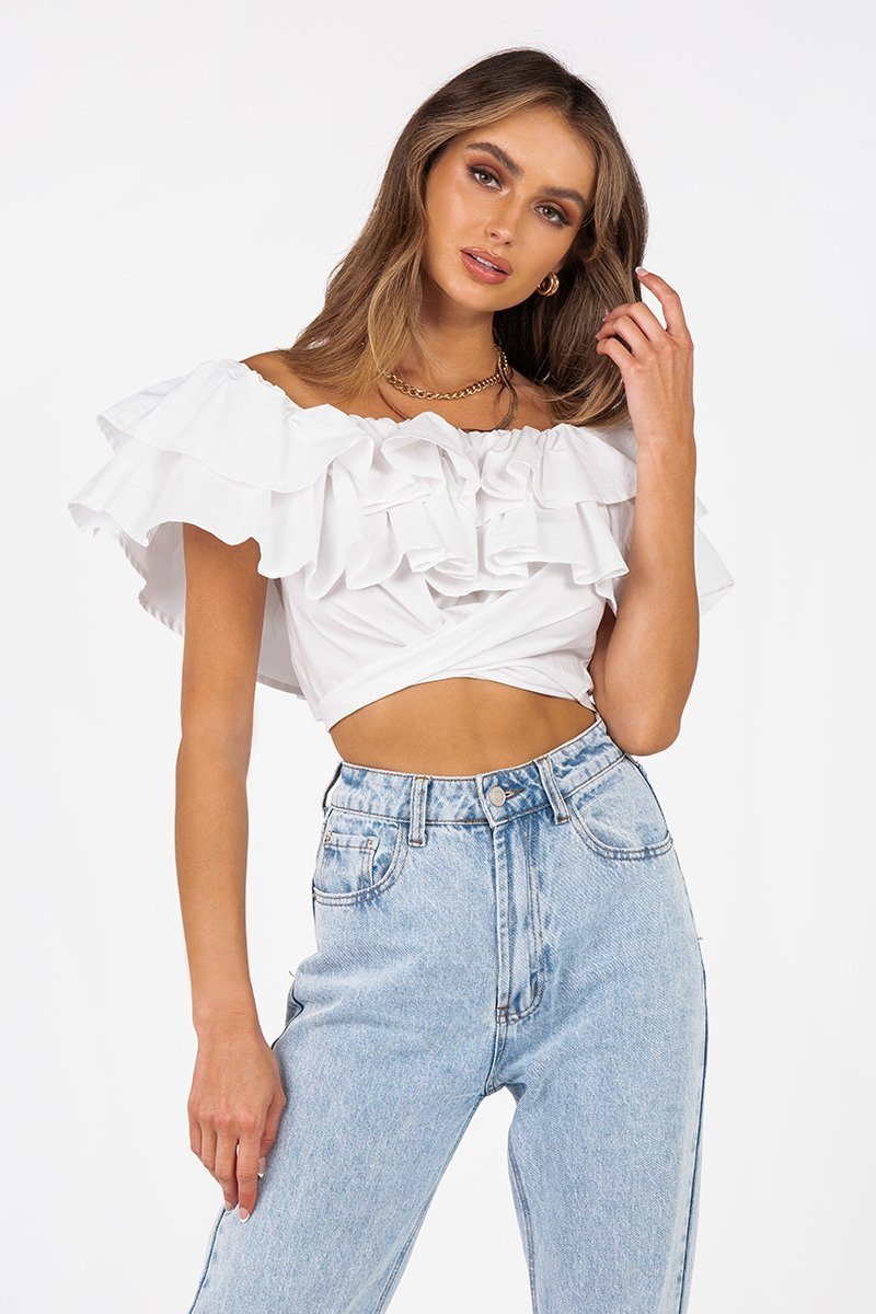 RYLEE WHITE RUFFLE TIE CROP TOP Clothing DISSH Boutiques 6 WHITE