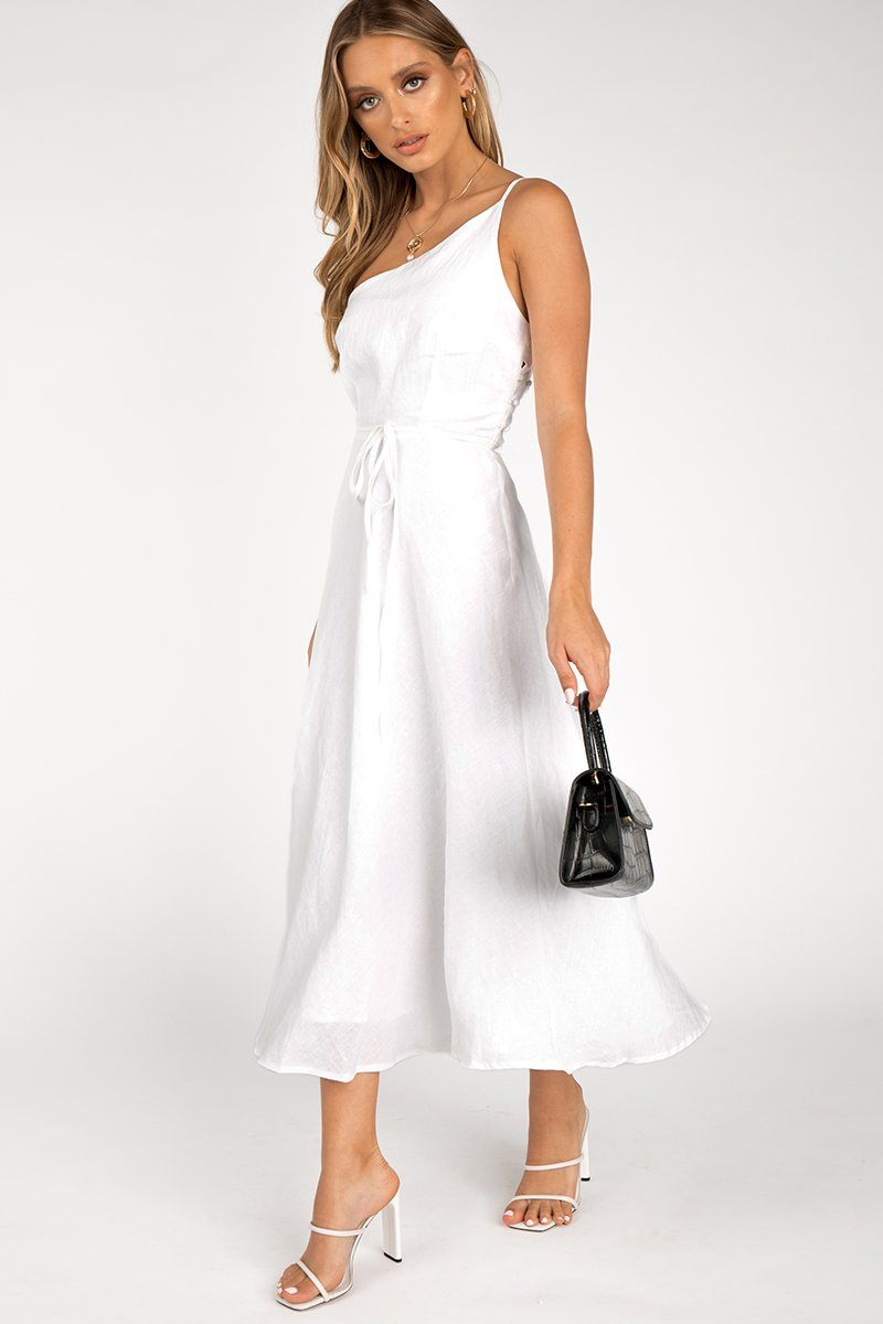 ZIPPY WHITE LINEN MIDI DRESS Clothing DISSH EXCLUSIVE 10 WHITE