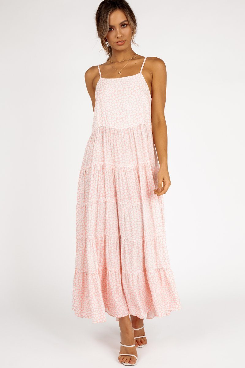 DELILAH PINK DAISY TIER MIDI DRESS Clothing DISSH Boutiques