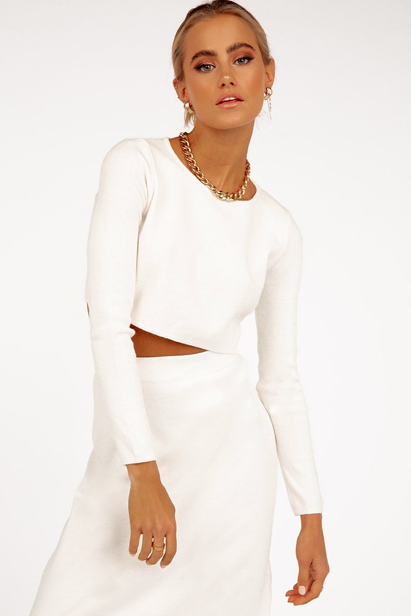 SO GOOD WHITE LONG SLEEVE KNIT TOP Clothing DISSH EXCLUSIVE L WHITE
