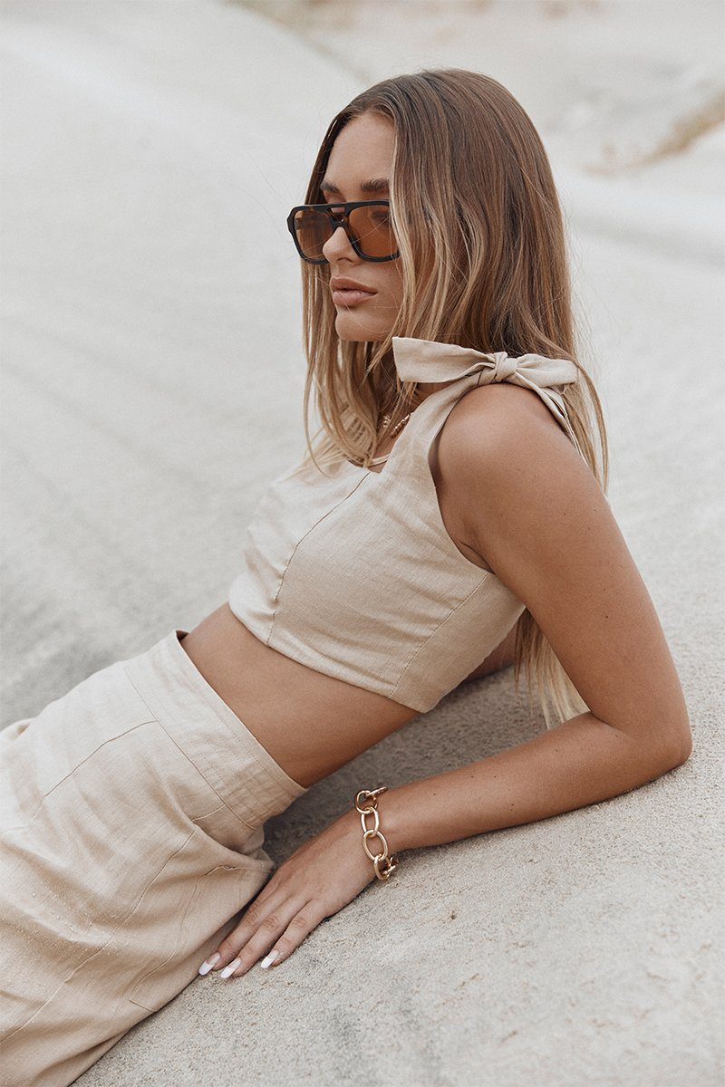 MAISIE STONE LINEN CROP TOP Clothing DISSH Boutiques