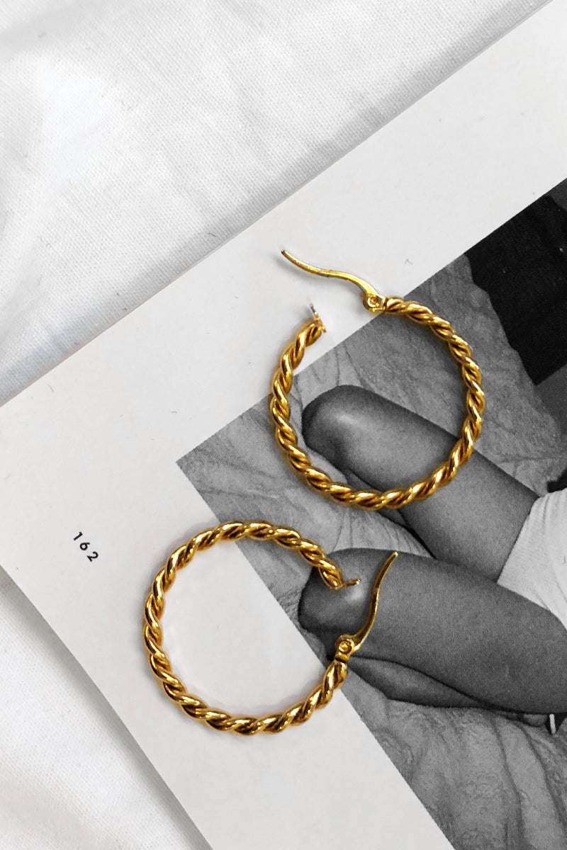 LUXE TWISTED EARRINGS Accessories DISSH Boutiques O/S GOLD