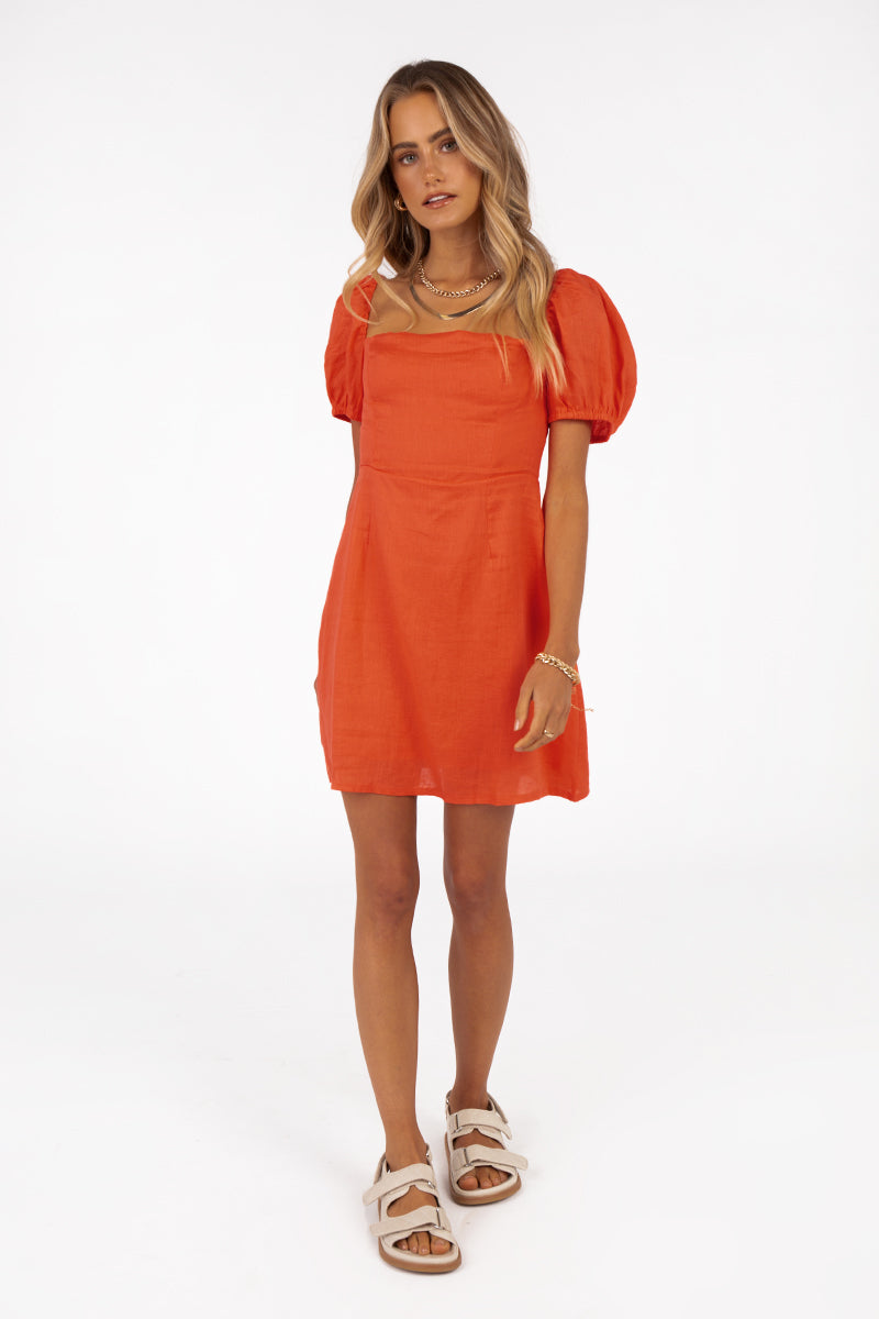 STASSI MORANGE LINEN MINI DRESS Clothing DISSH EXCLUSIVE 10 ORANGE
