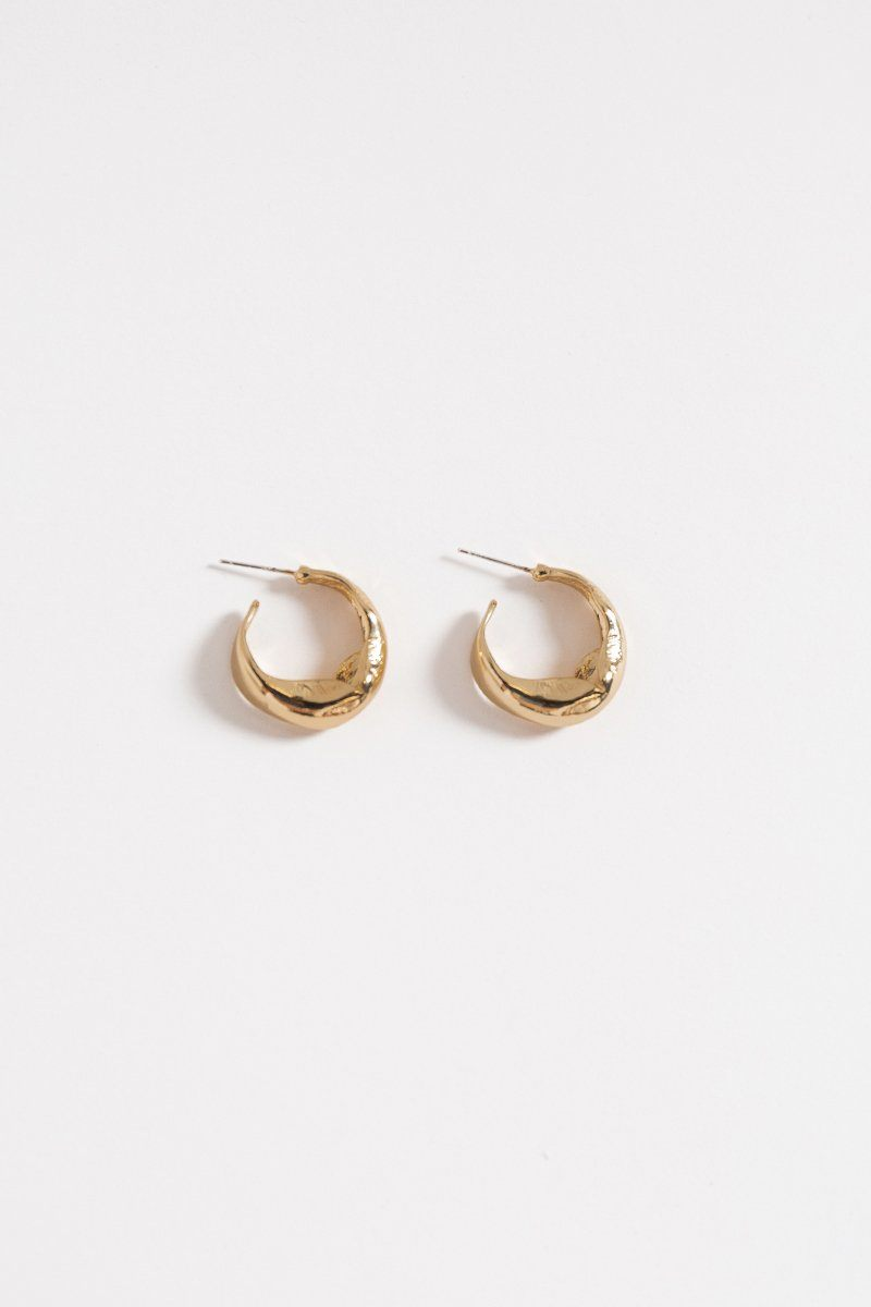 JILLIAN GOLD HAMMERED HOOP EARRINGS Accessories DISSH Boutiques O/S GOLD