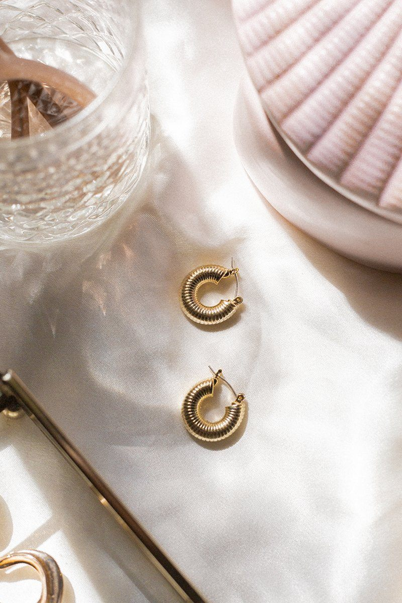 SONJA GOLD SPIRAL HOOP EARRINGS Accessories DISSH Boutiques O/S GOLD