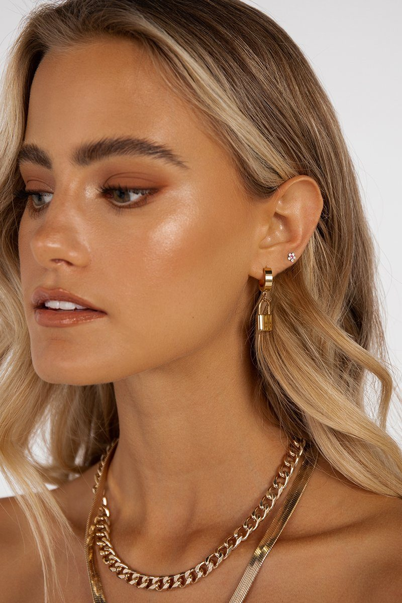 LOCK IT UP GOLD HOOP EARRINGS Accessories DISSH Boutiques O/S GOLD