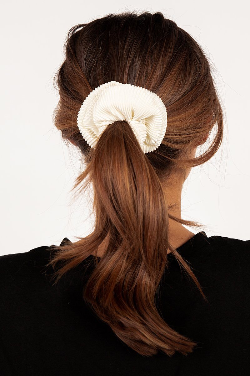 RHI WHITE RIBBED SCRUNCHIE Accessories DISSH Boutiques O/S WHITE