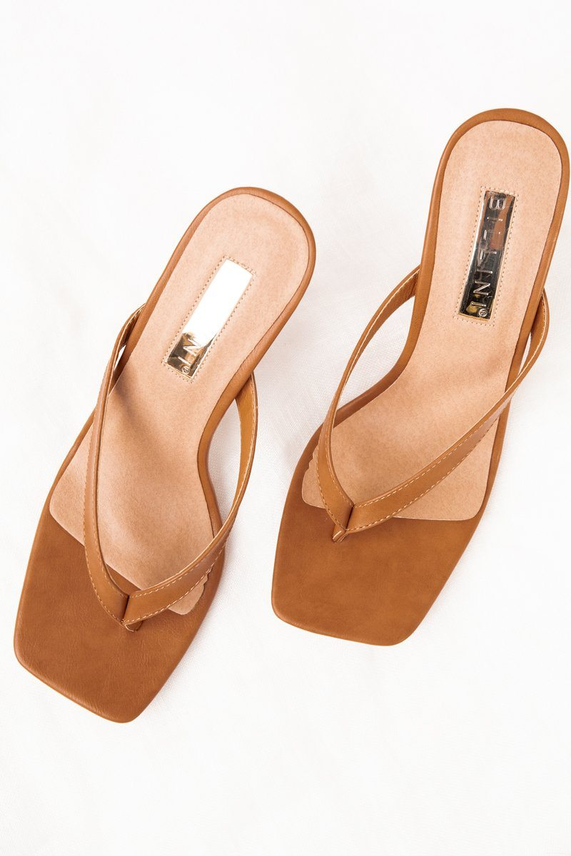 BILLINI SOLANA TAN HEEL THONG Shoes BILLINI 9 TAN