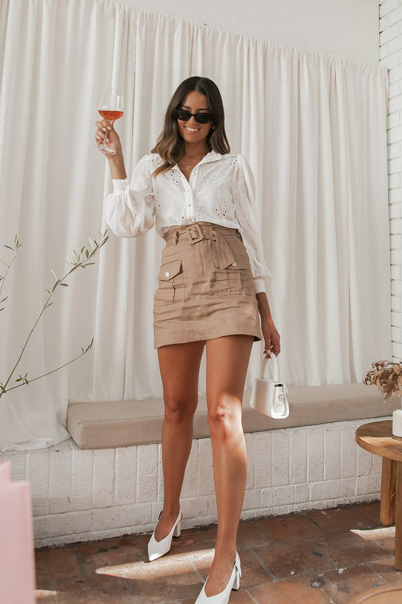 ZEPHER LATTE LINEN MINI SKIRT Clothing DISSH Boutiques