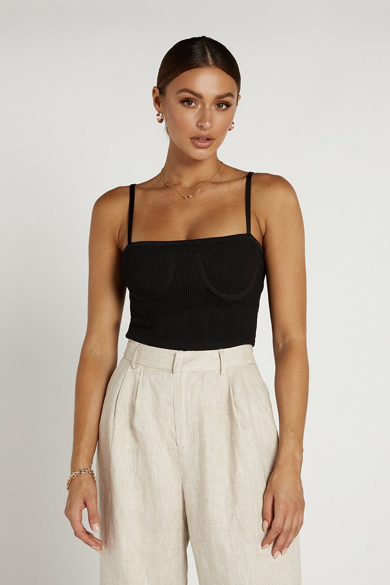 JULES RIBBED BLACK CROP TOP Clothing DISSH Boutiques