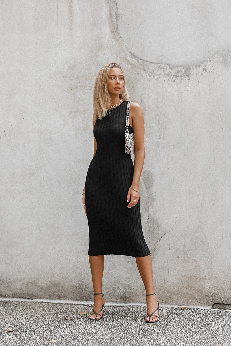 LIBERTY BLACK KNIT MIDI DRESS Clothing DISSH Boutiques 6 BLACK