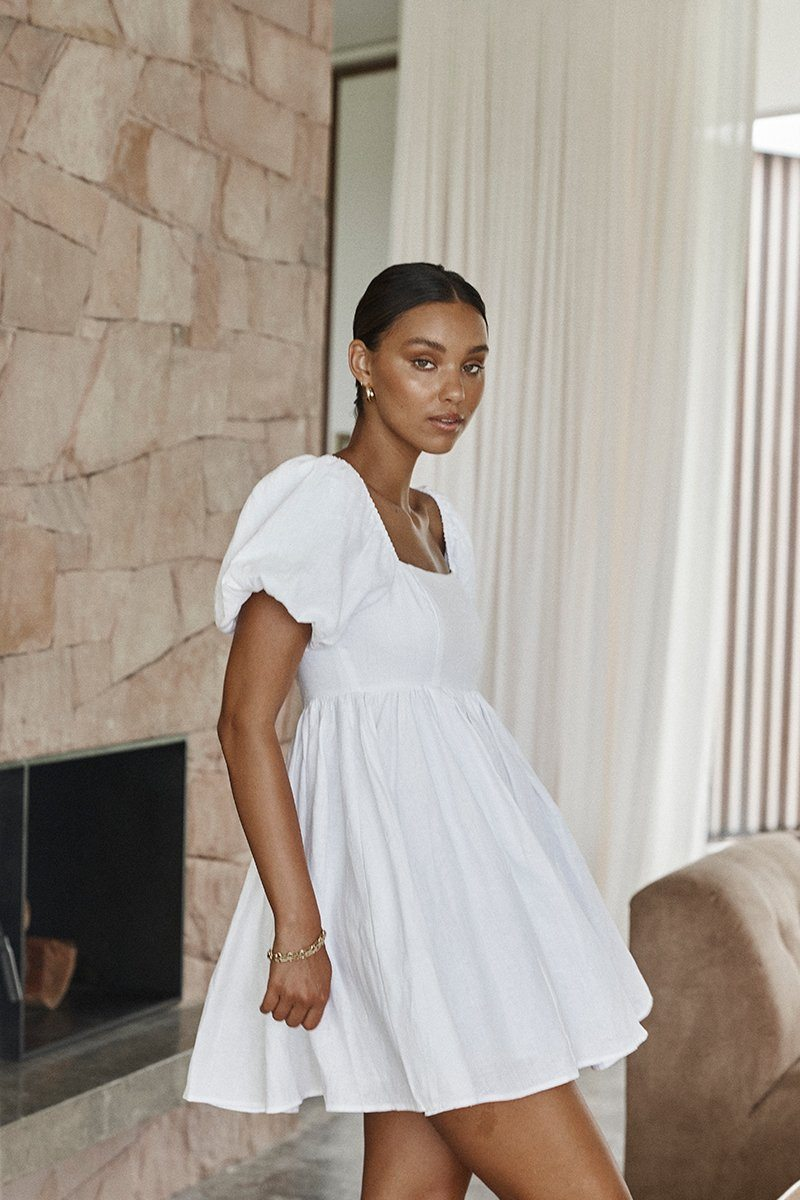 DANIELLE WHITE LINEN MINI DRESS Clothing DISSH Boutiques