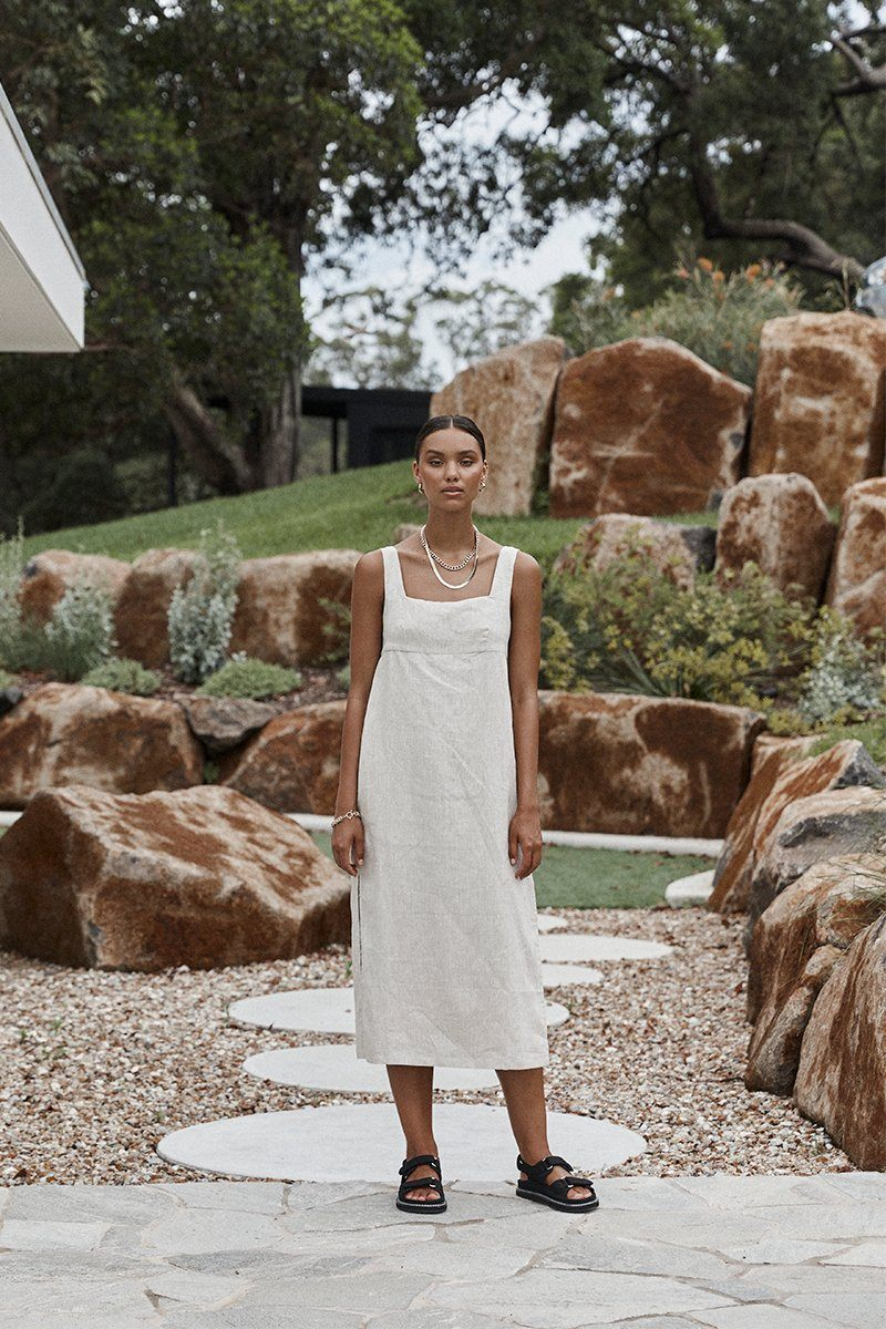 PALMER NATURAL LINEN MIDI DRESS Clothing DISSH Boutiques 14 NATURAL