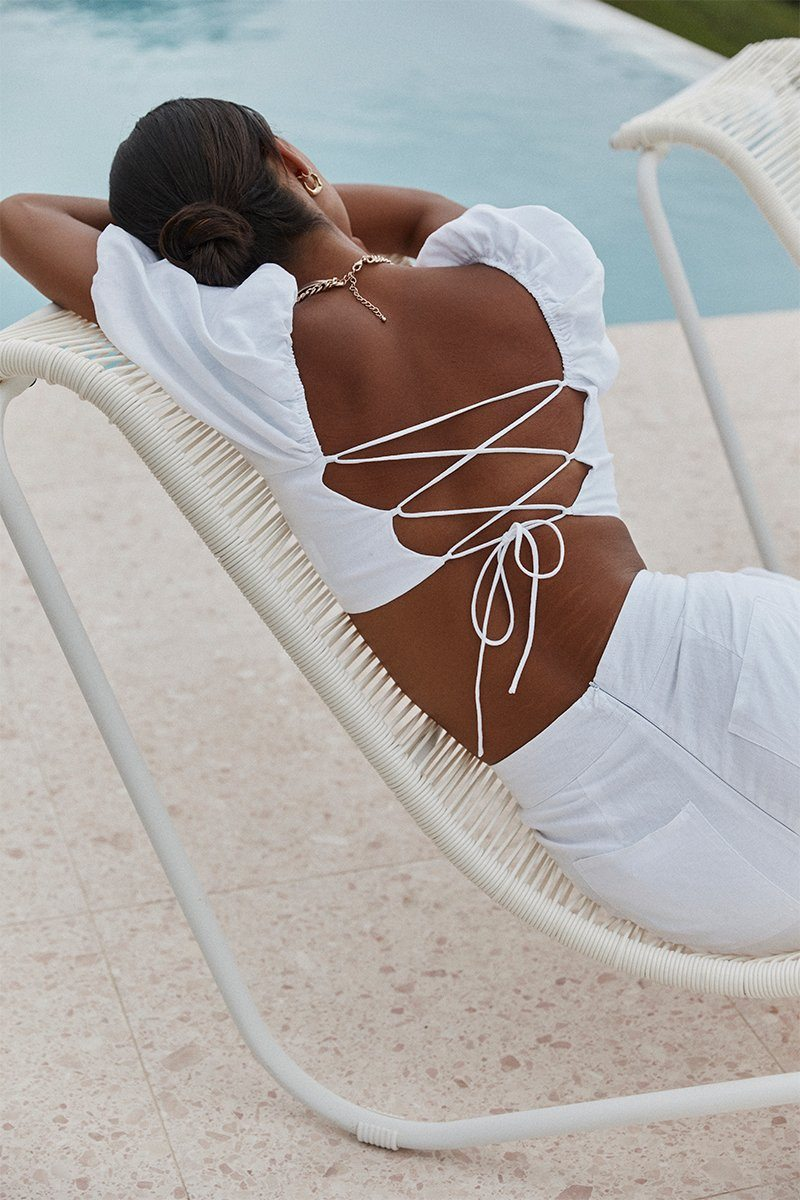 JUNE WHITE LINEN TIE BACK CROP TOP Clothing DISSH Boutiques