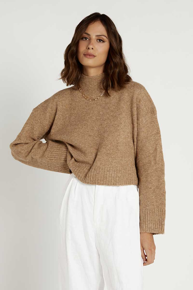 MOLLY CAMEL HIGH NECK KNIT JUMPER Clothing DISSH Boutiques