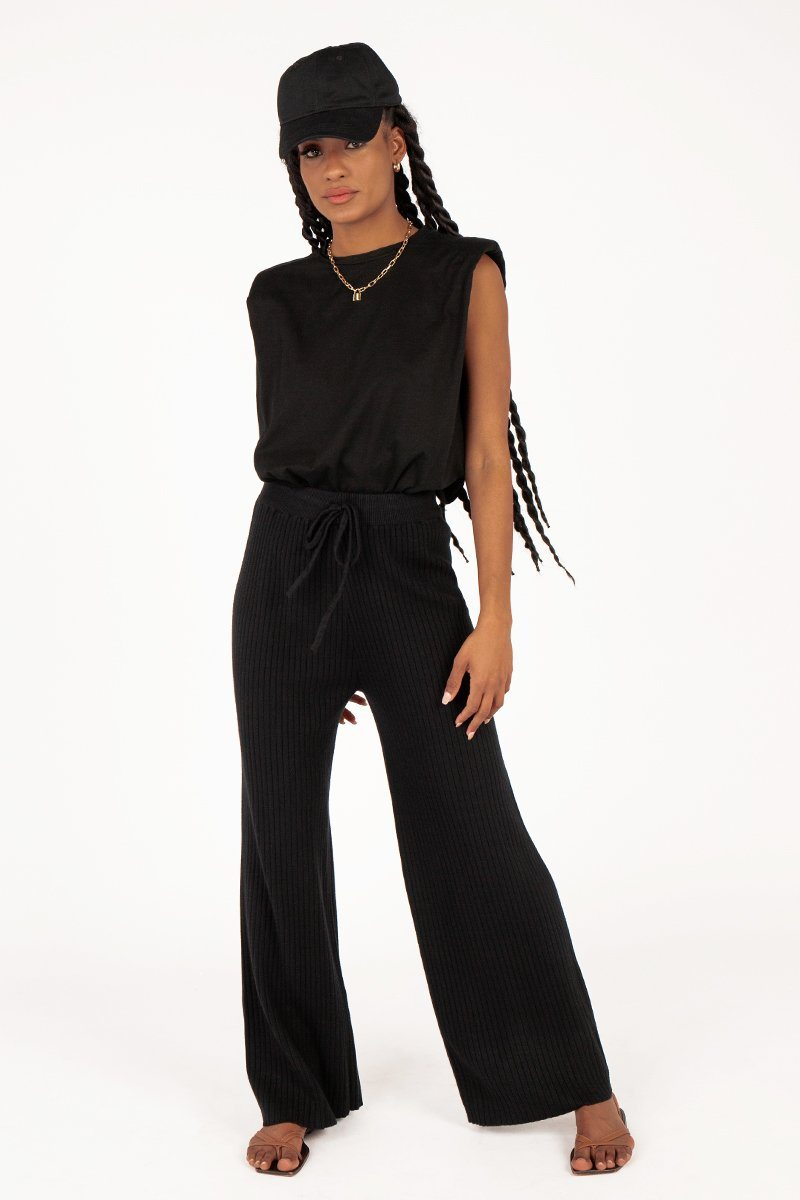 SOPHIE BLACK KNITTED PANT Clothing DISSH Boutiques 14 BLACK