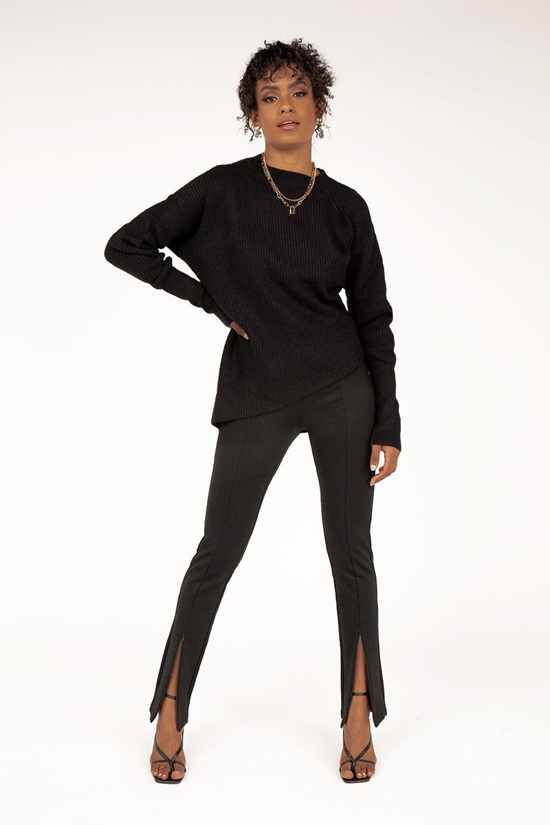 JUSTIN BLACK ASYMMETRIC KNIT Clothing DISSH Boutiques