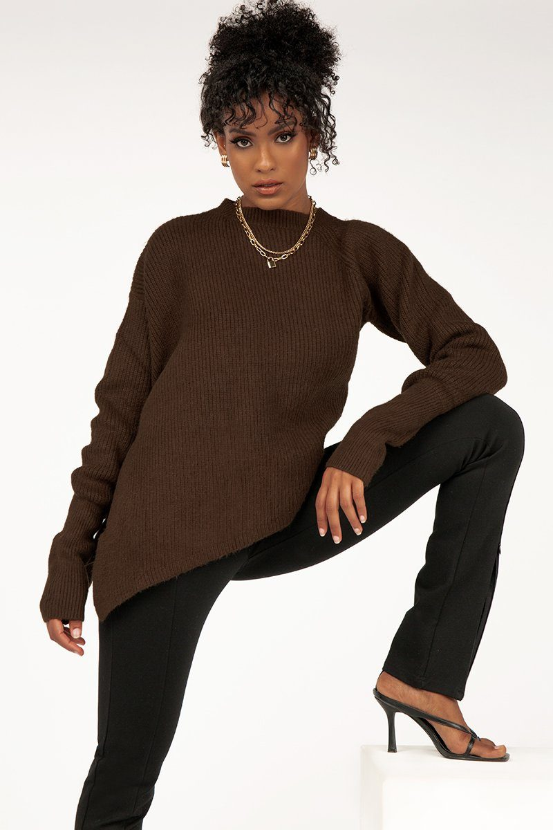 JUSTIN CHOCOLATE ASYMMETRIC KNIT Clothing DISSH Boutiques S/M CHOCOLATE