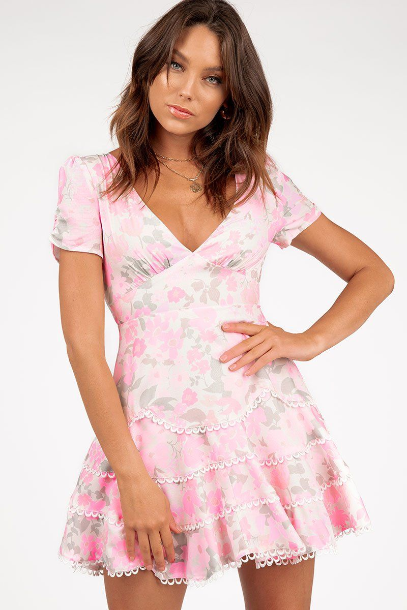 ROSES PINK FLORAL MINI DRESS Clothing DISSH Boutiques 14 PINK