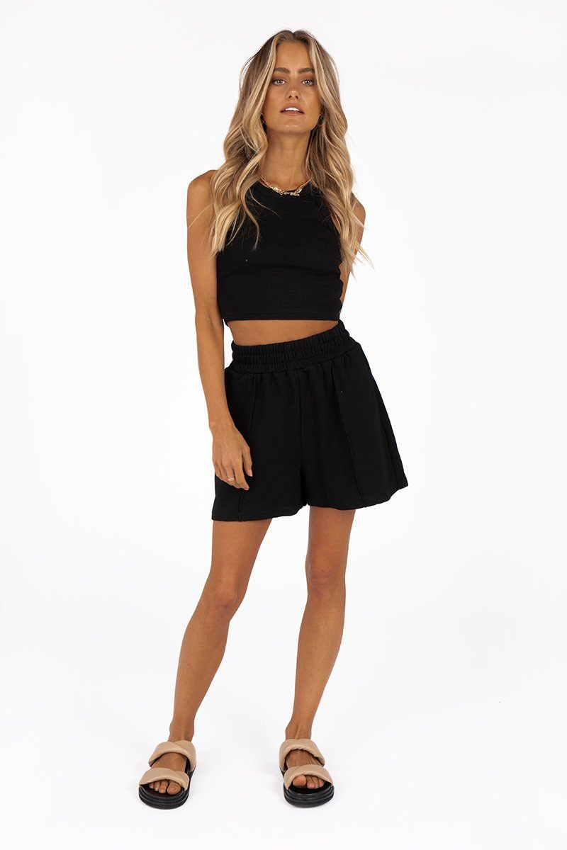 MADISON THE LABEL ELLIOT BLACK SHORTS Clothing DISSH Boutiques XS BLACK