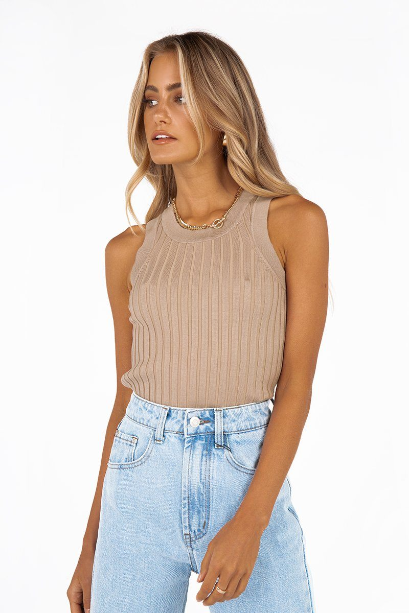 MADISON THE LABEL ALEXIS NUDE KNIT TOP Clothing DISSH Boutiques XS NUDE