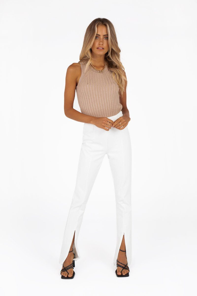 MADISON THE LABEL HENLEY ZIP PANT Clothing DISSH Boutiques XS WHITE