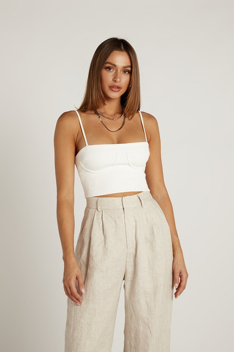 JOHNNY WHITE RIBBED CROP TOP Clothing DISSH Boutiques