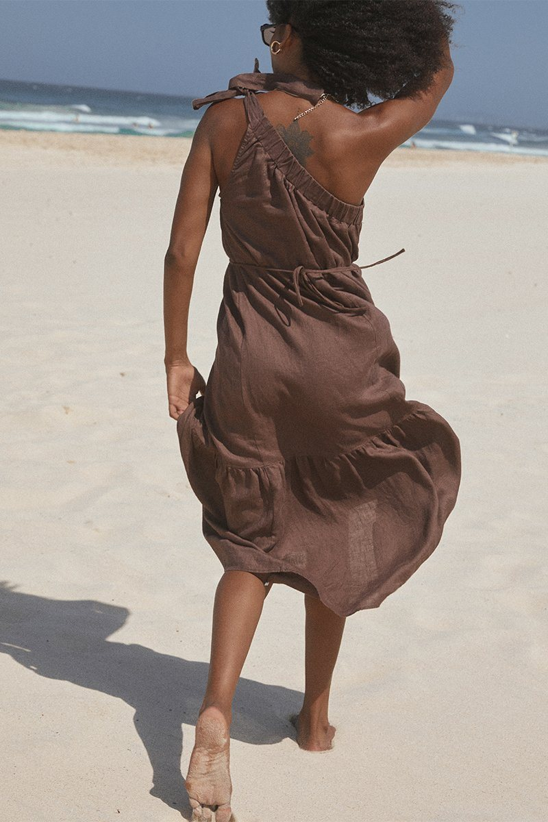 TATUM CHOCOLATE LINEN MIDI DRESS Clothing PREORDER