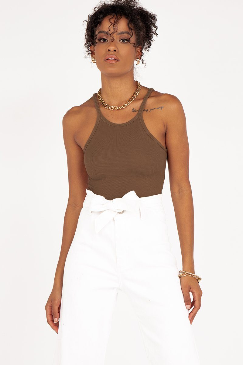NUDE LUCY CHARLIE CHOC RIB TANK Clothing DISSH Boutiques M CHOCOLATE