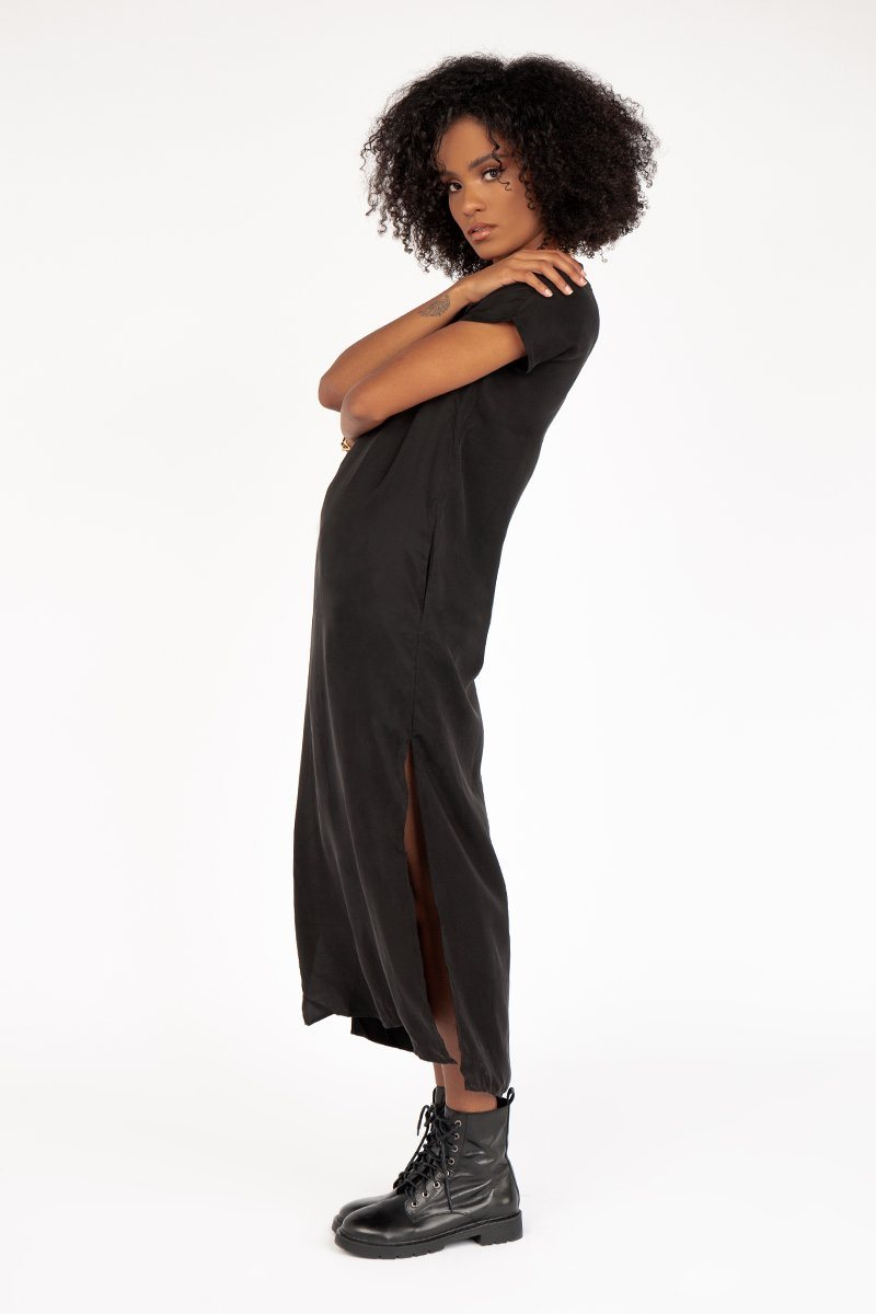 NUDE LUCY ADDISON BLACK CUPRO DRESS Clothing DISSH Boutiques L BLACK