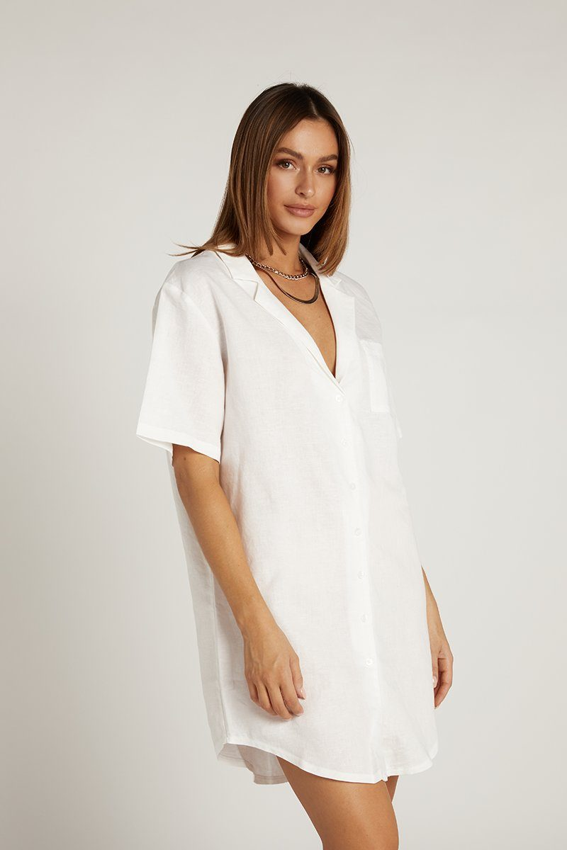 NUDE LUCY EZRA LINEN SHIRT DRESS Clothing DISSH Boutiques L WHITE