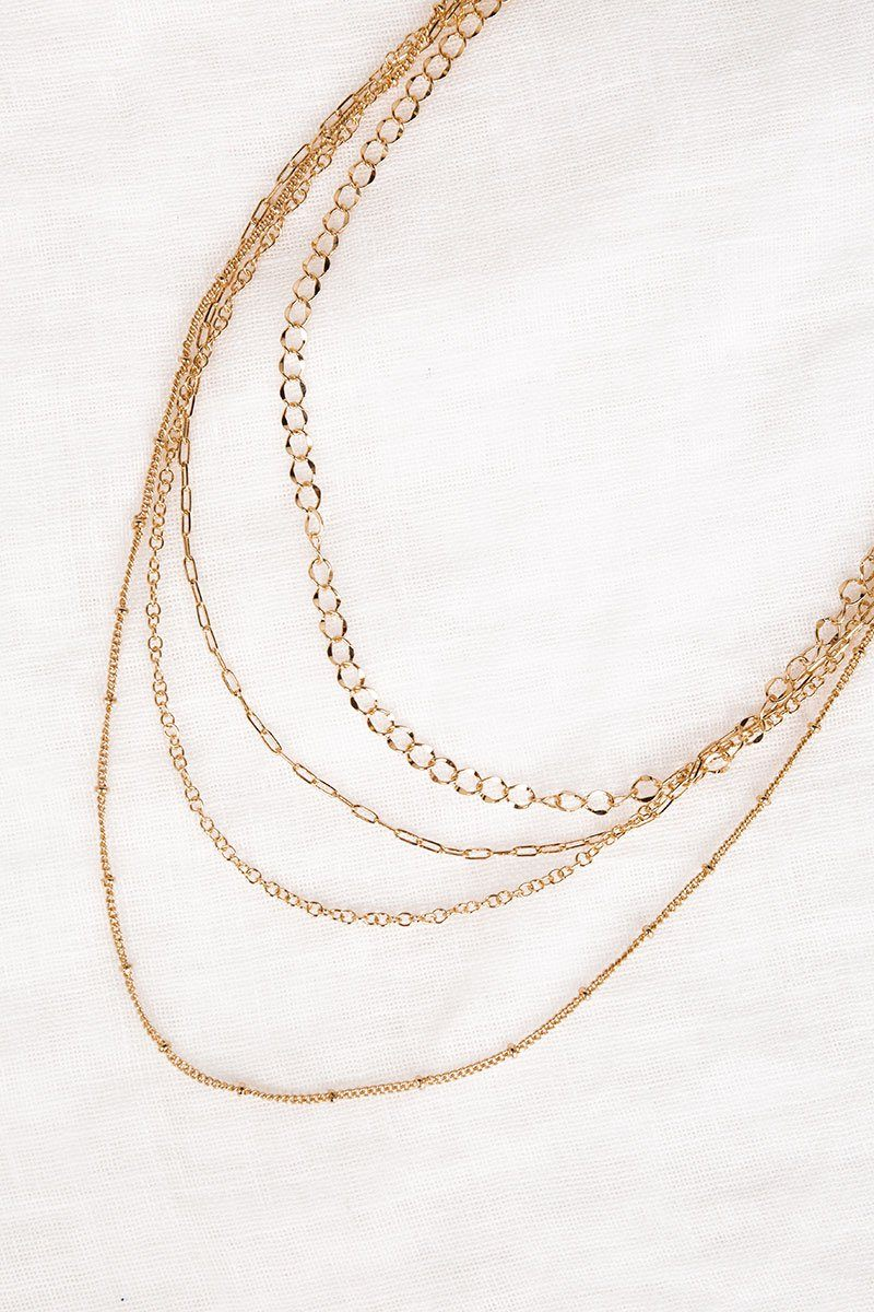 AMBER GOLD LAYERED CHAIN NECKLACE Accessories DISSH Boutiques