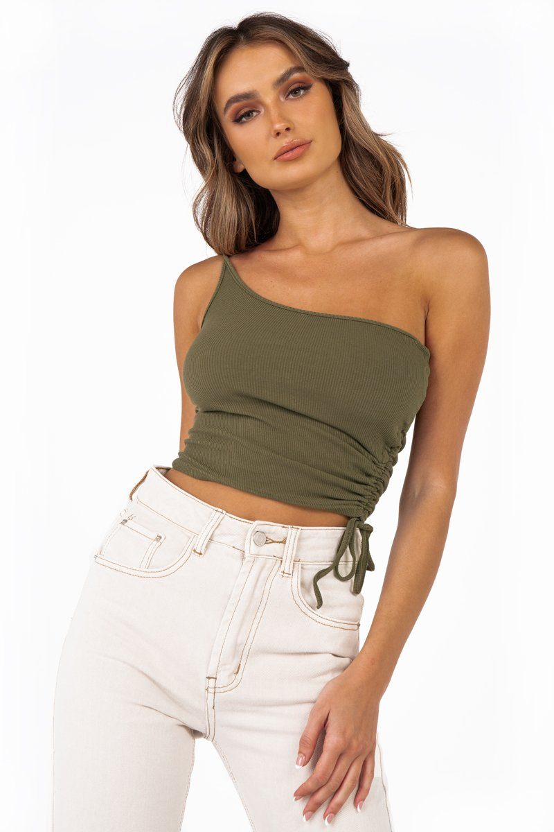 BRIDGET ONE SHOULDER KHAKI KNIT TOP