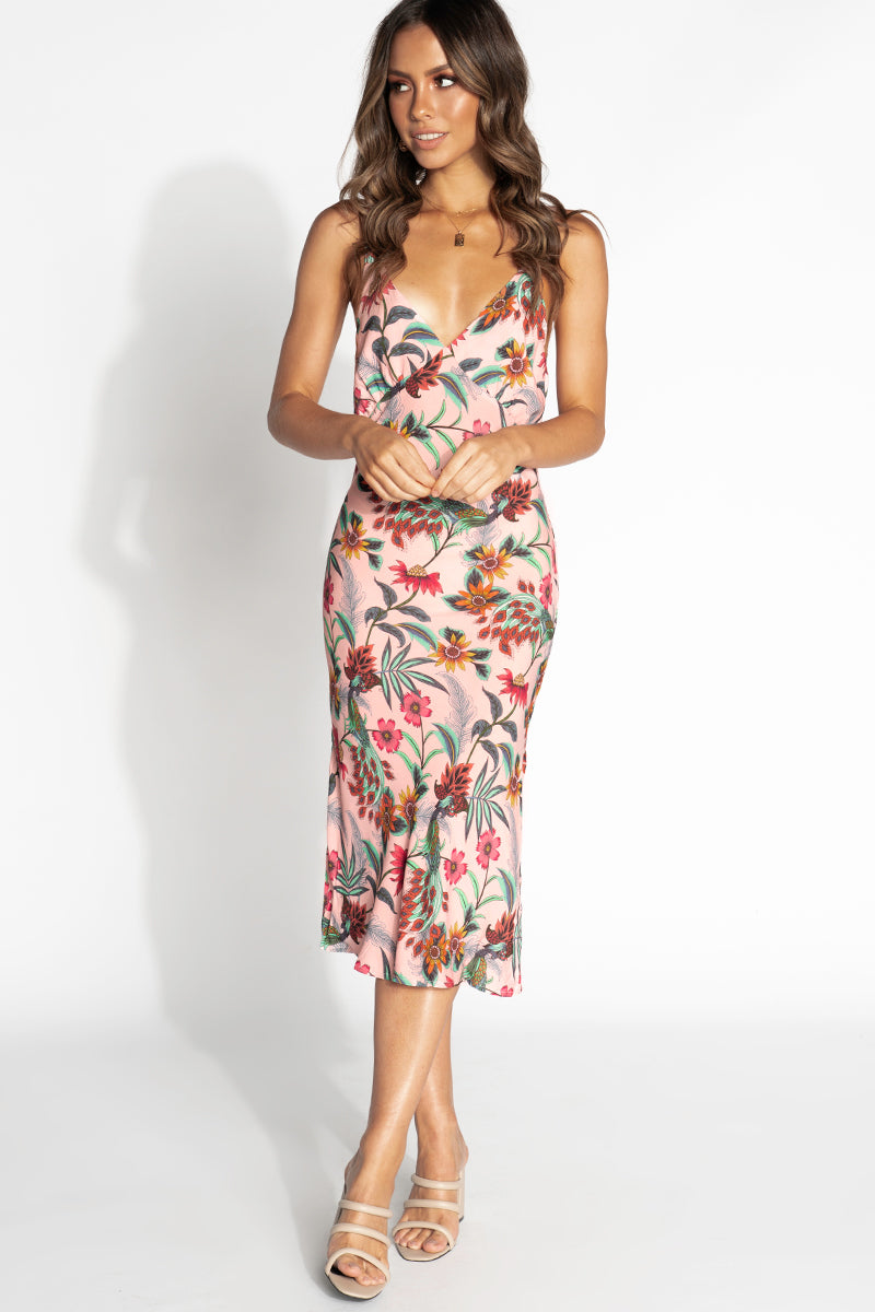 BET ON LOVE PINK FLORAL MIDI DRESS Clothing DISSH Boutiques 14 PINK