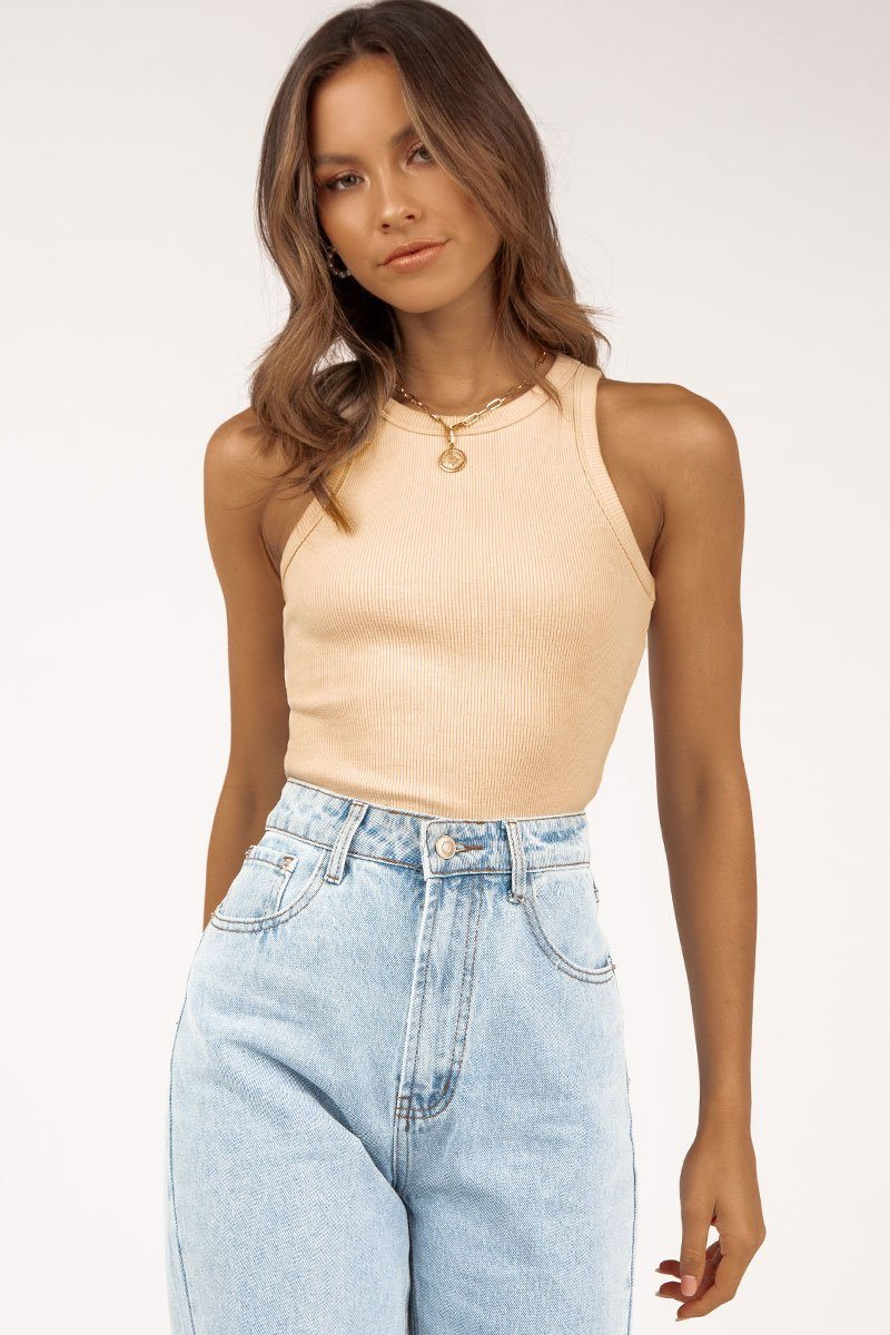 MUST HAVE HIGH NECK BEIGE KNIT TOP