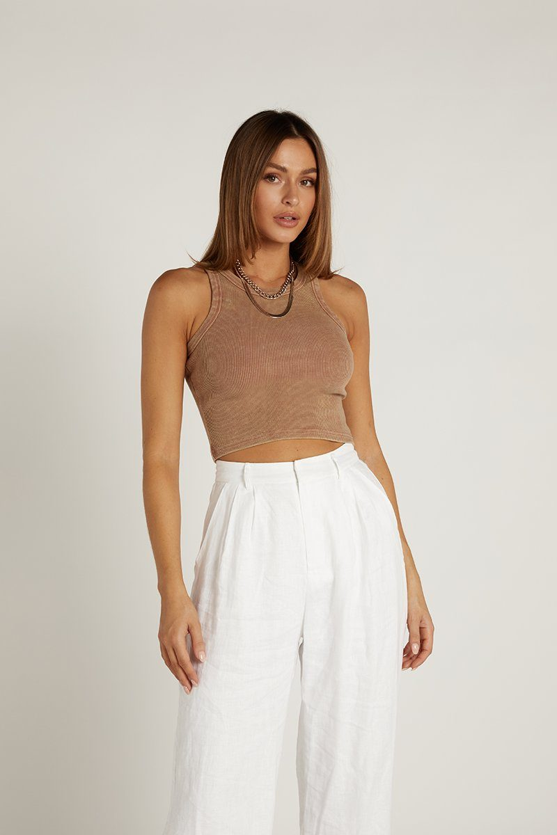 MUST HAVE CHOC HIGH NECK KNIT TOP Clothing DISSH Boutiques