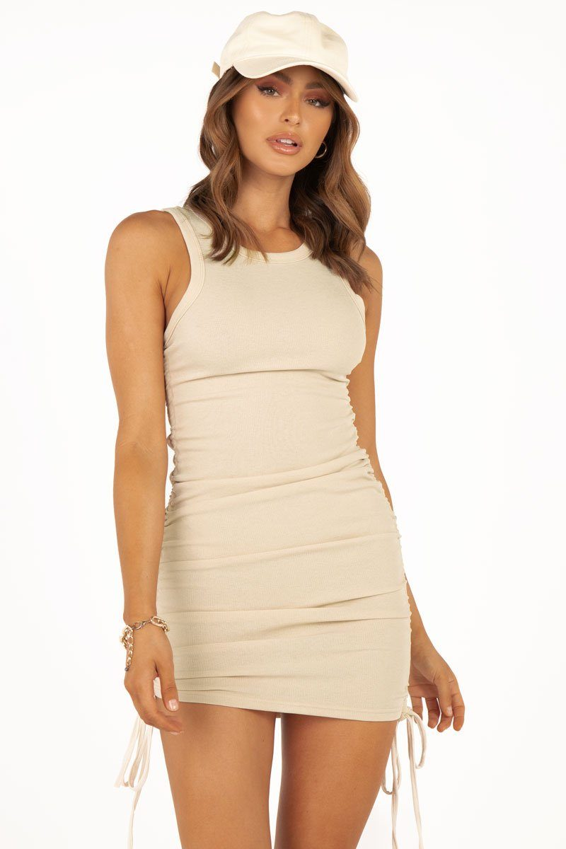 GOLD RUSH CREAM KNIT MINI DRESS Clothing DISSH Boutiques