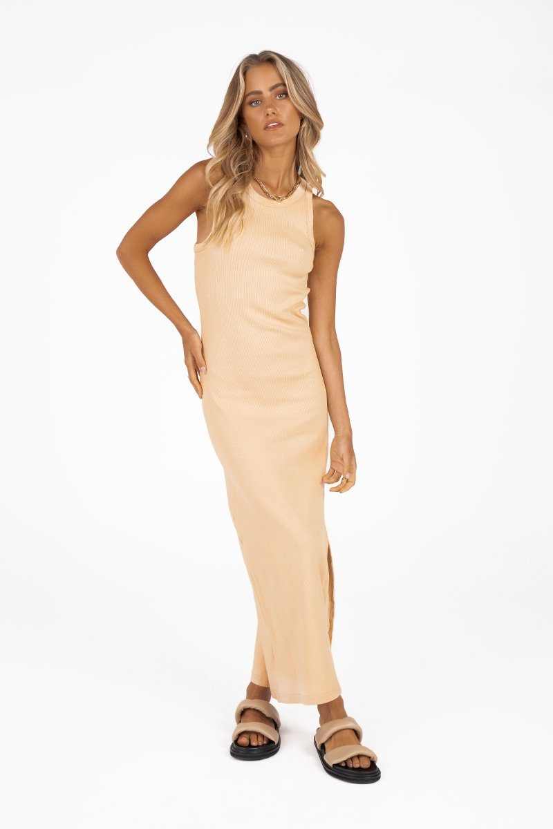 DEEP DIVE BEIGE KNIT MIDI DRESS