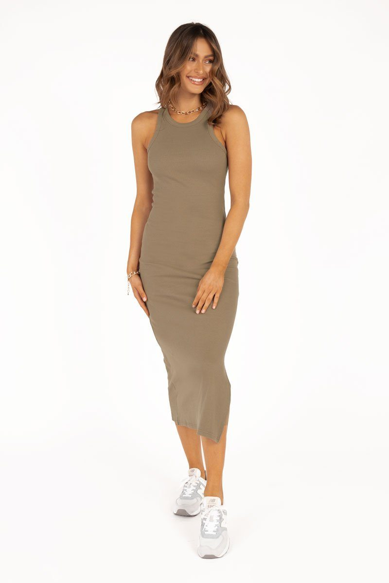DEEP DIVE OLIVE KNIT MIDI DRESS Clothing DISSH Boutiques 12 OLIVE